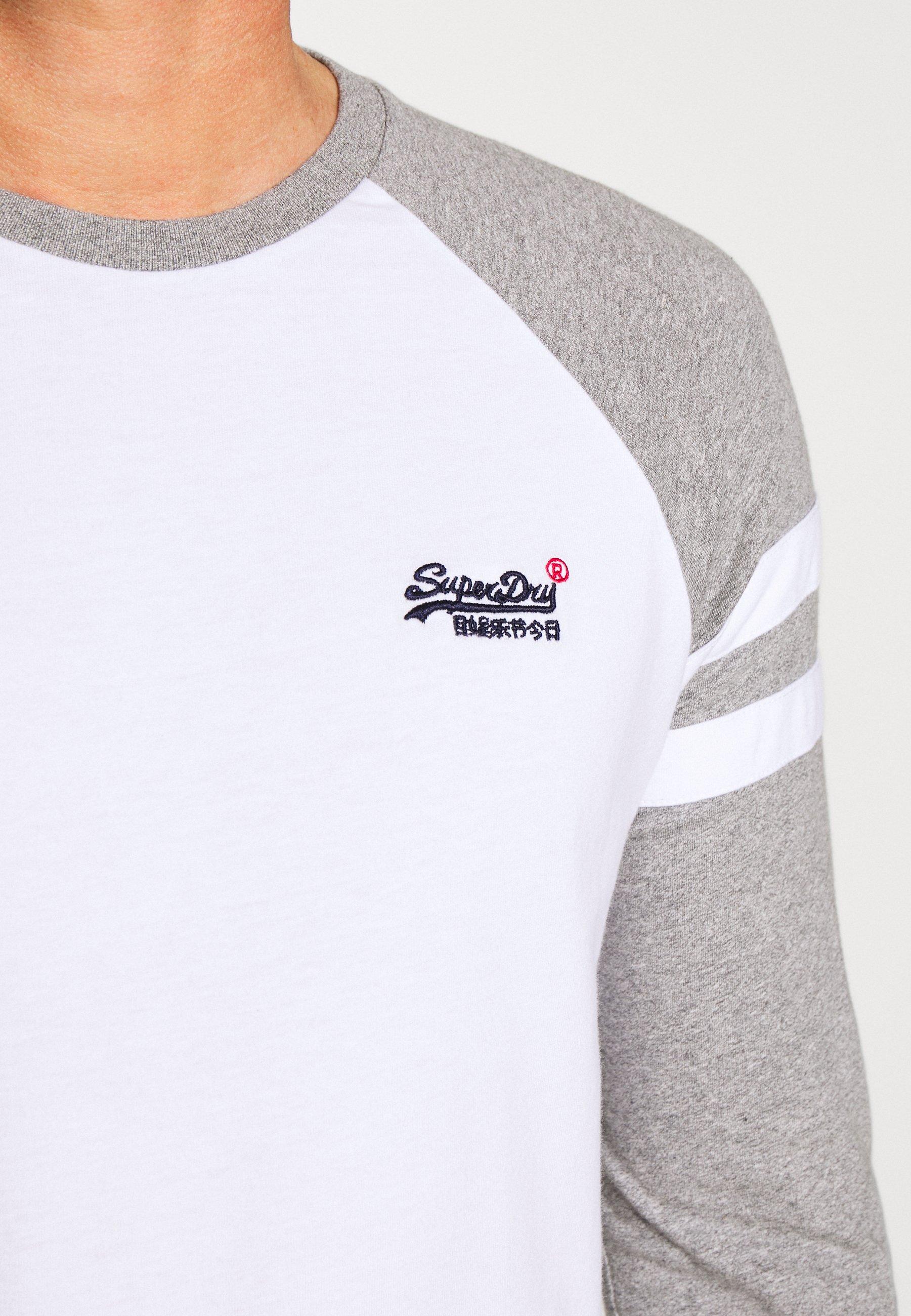 Superdry SOFTBALL RINGER - Maglietta a manica lunga - white