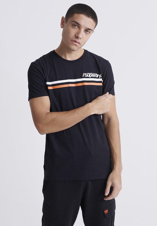 CORE LOGO SPORT STRIPE TEE - Print T-shirt - black