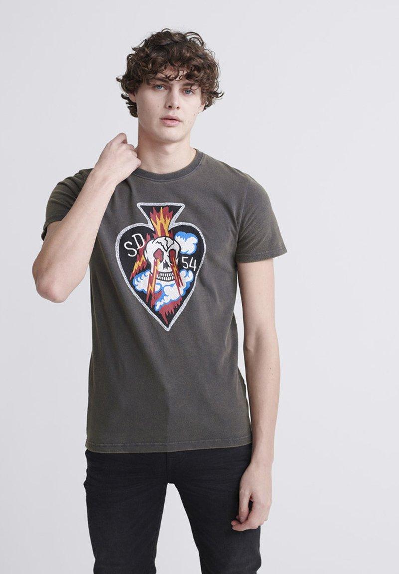 Superdry - T-shirt imprimé - washed black