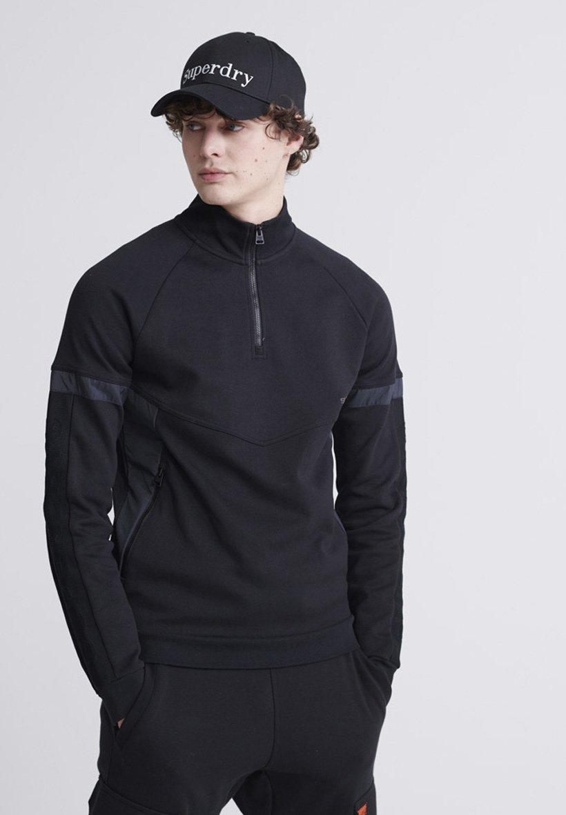 Superdry HALF ZIP - Bluza - black