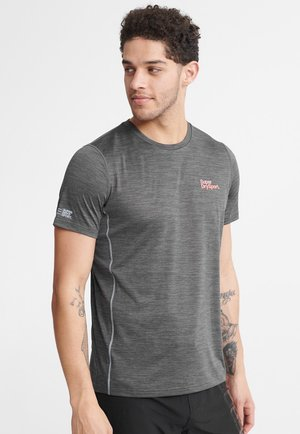 SUPERDRY TRAINING T-SHIRT - T-shirt z nadrukiem - steel grey space dye