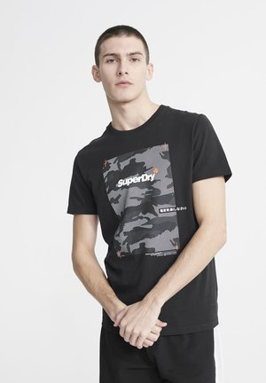 SUPERDRY CHROMATIC T-SHIRT - T-shirt z nadrukiem - black