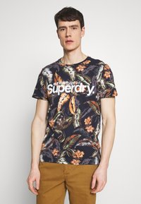 Superdry - TEE - T-shirt med print - indo navy - 0