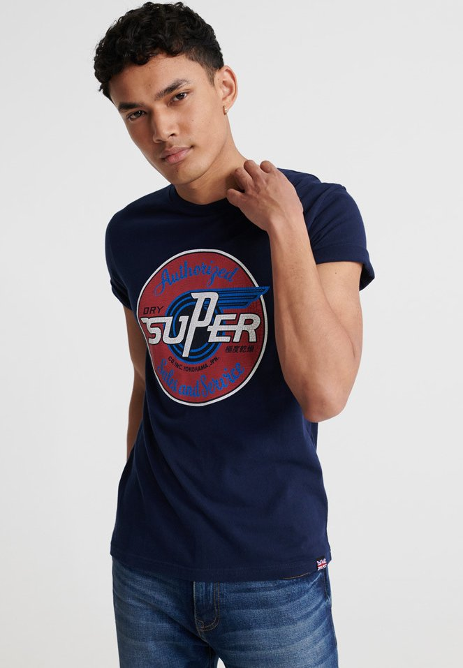 Superdry - MOTOR - T-Shirt print - rich navy