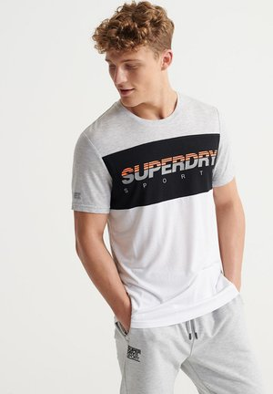 SUPERDRY TRAINING GRAPHIC BLOCK T-SHIRT - T-shirts print - light grey marl