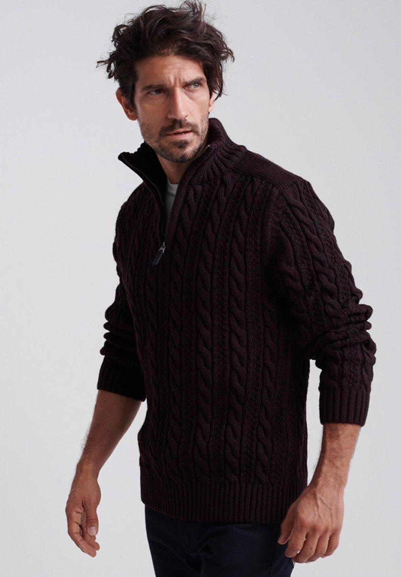 Superdry JACOB - Sweter - bright burgundy twist