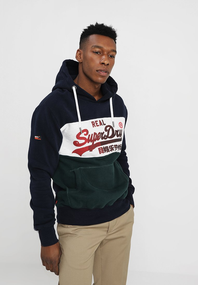 Superdry - VINTAGE LOGO 1ST PANEL HOOD - Hoodie - eclipse navy/ice marl