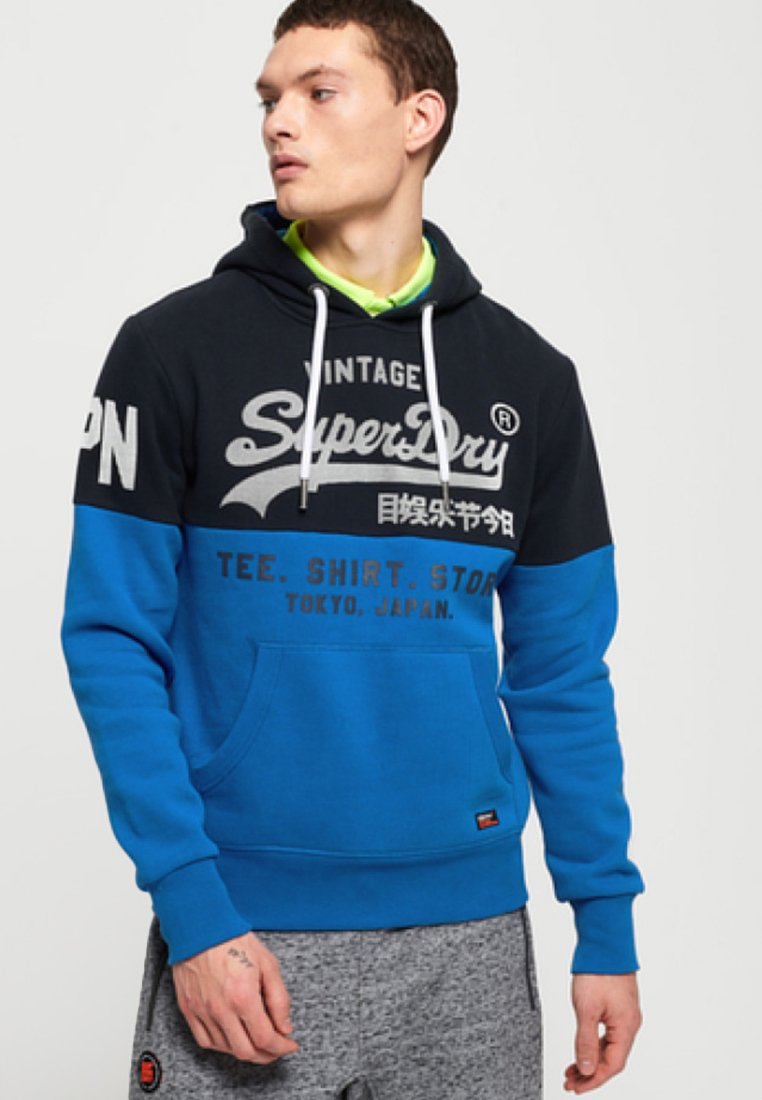 Superdry - STORE PANEL HOOD - Luvtröja - blue