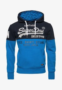 Superdry - STORE PANEL HOOD - Luvtröja - blue - 5