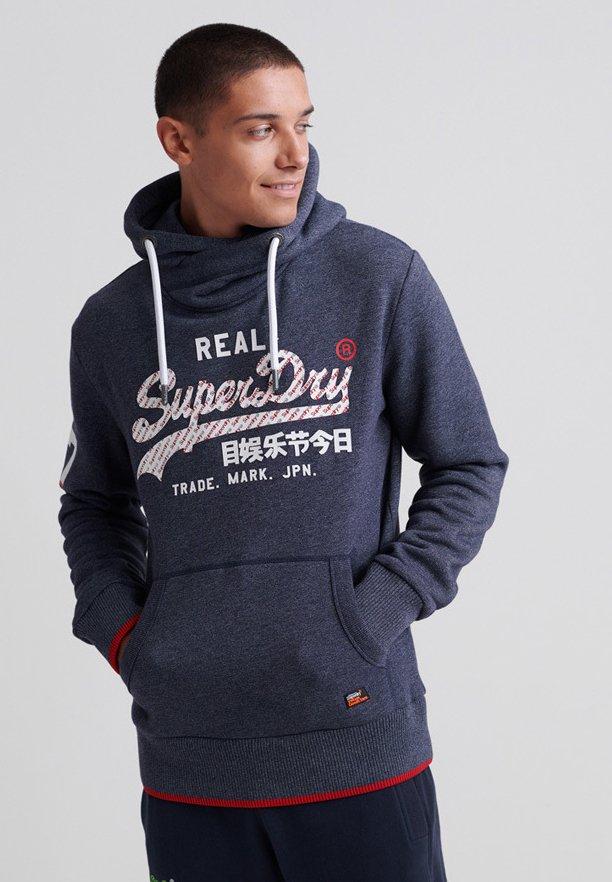 Superdry VINTAGE LOGO NEON TIP HOOD - Bluza z kapturem - navy grit