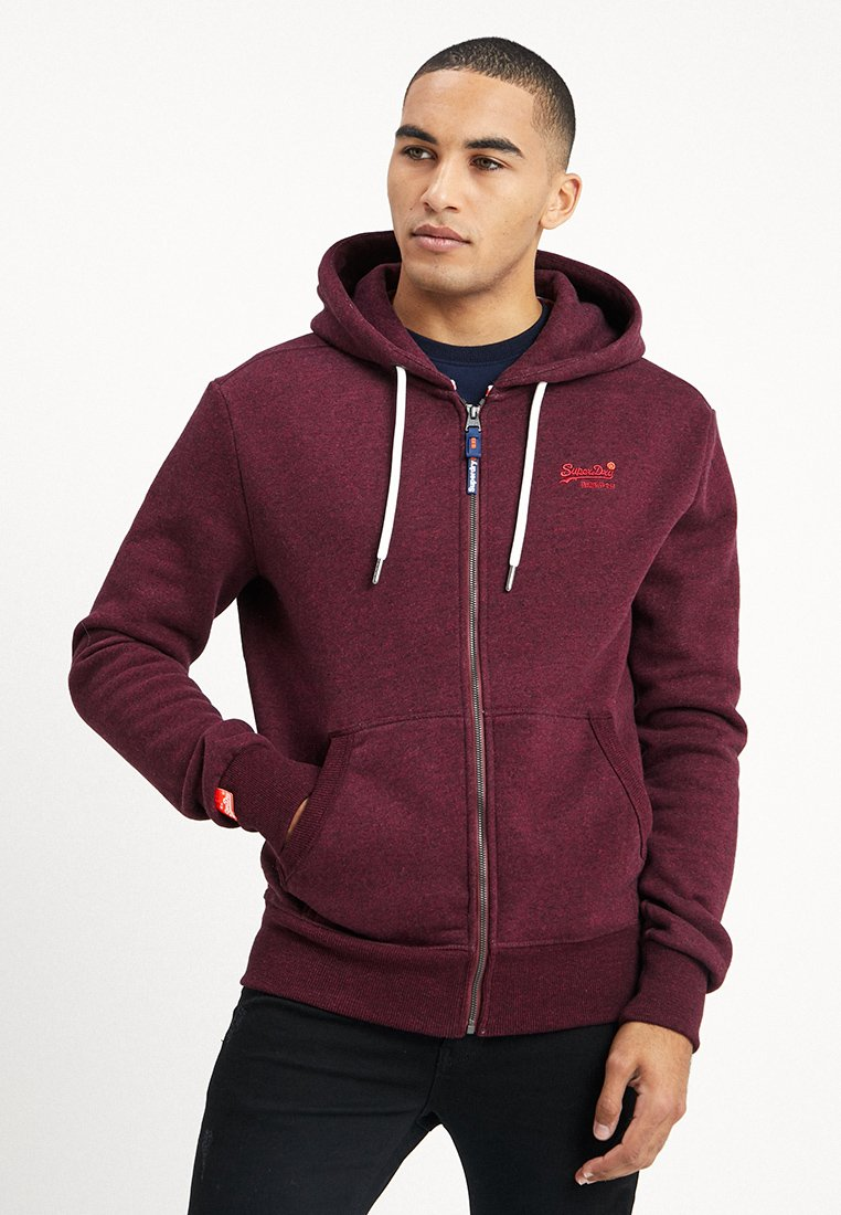 Superdry - LABEL CLASSIC ZIPHOOD - Sweatjacke - cranberry grit