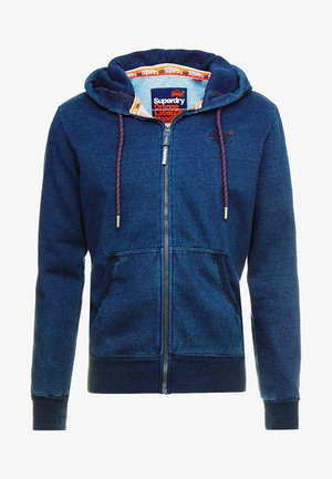 LABEL CLASSIC ZIP HOOD - Zip-up hoodie - dark wash indigo