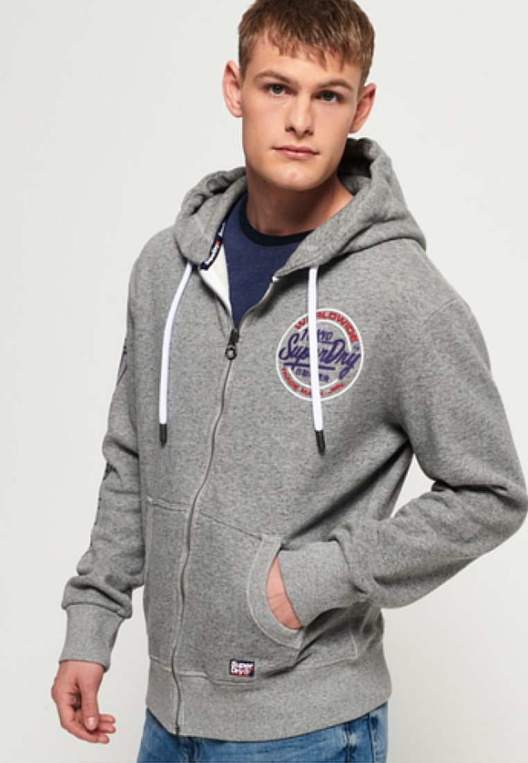 TypeVeste Gray En Superdry Ticket Zippée Sweat MVGSqpUz