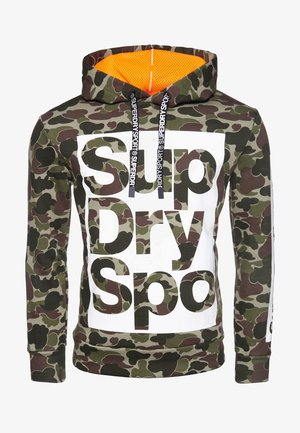 Sweatshirt - camouflage pattern/ bright orange