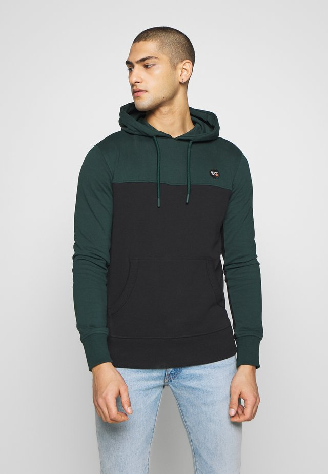 COLLECTIVE COLOUR BLOCK HOOD - Hoodie - pine