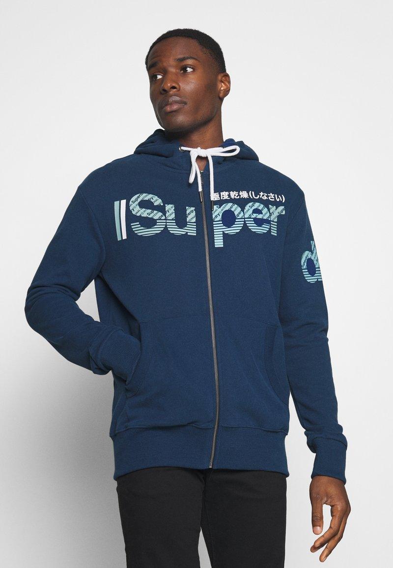 Superdry - CORE SPLIT LOGO ZIP HOOD - Zip-up hoodie - pilot mid blue