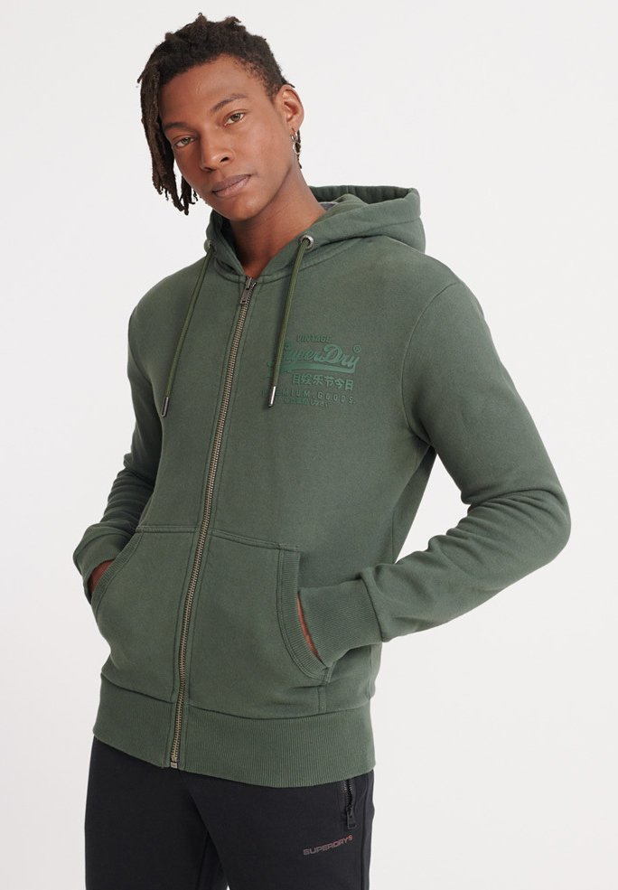 Superdry TONAL INJECTION - Bluza rozpinana - mid pine