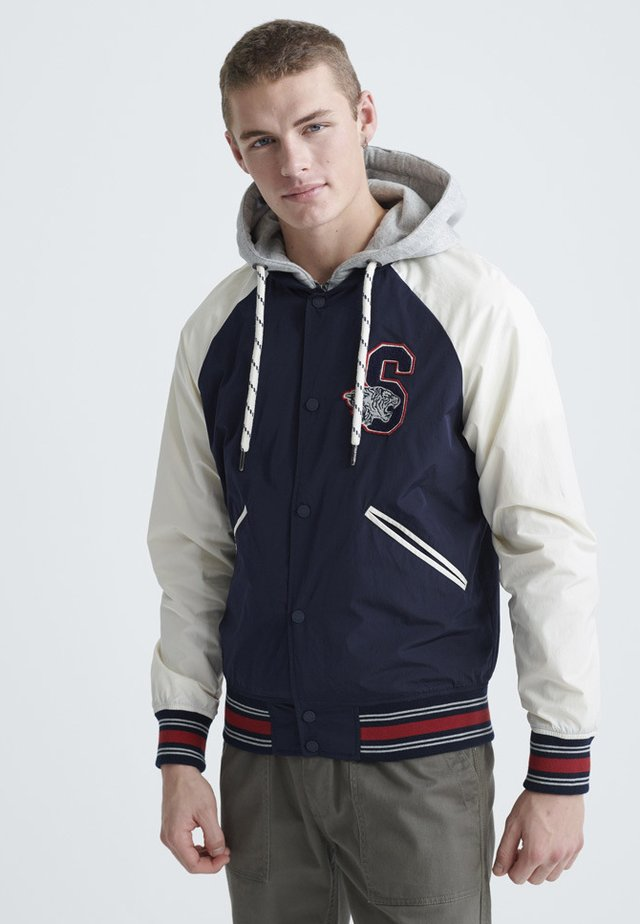 SUPERDRY HOODED COLLEGIATE BOMBER JACKET - Bomberjacks - richest navy