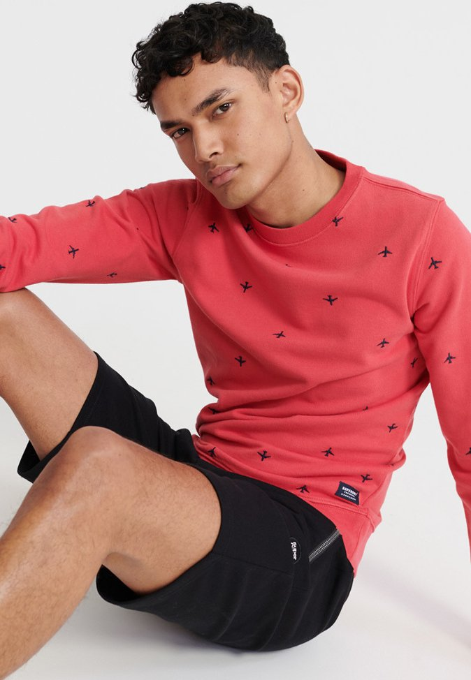 Superdry All Over Embroidery Crew Sweatshirt - Maldive Pink wRE5Gb3