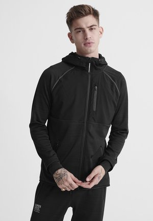 SUPERDRY TRAINING WATER REPELLENT ZIP HOODIE - Bluza rozpinana - black