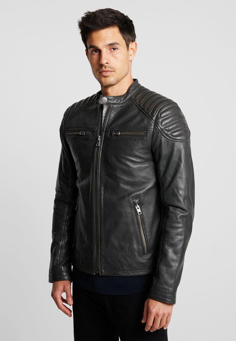 Superdry - NEW HERO JACKET - Leather jacket - charcoal