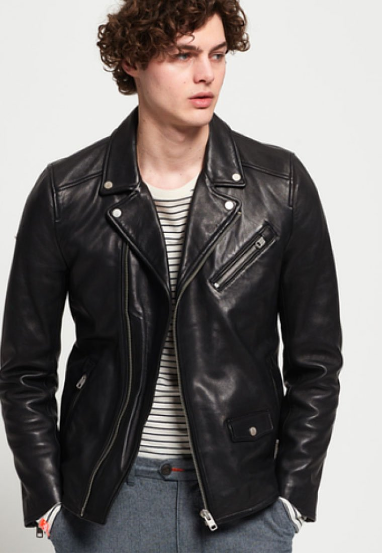 Superdry - HERO - Veste en cuir - black