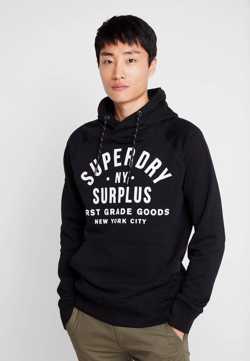 Superdry - SURPLUS GOODS POP OVER HOOD - Bluza z kapturem - jet black