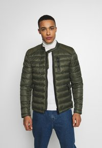 Superdry - COMMUTER QUILTED BIKER - Lehká bunda - army khaki - 0