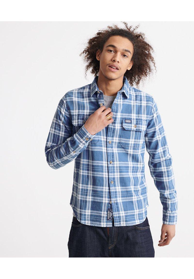 Superdry - MERCHANT MILLED LITE - Shirt - blue check