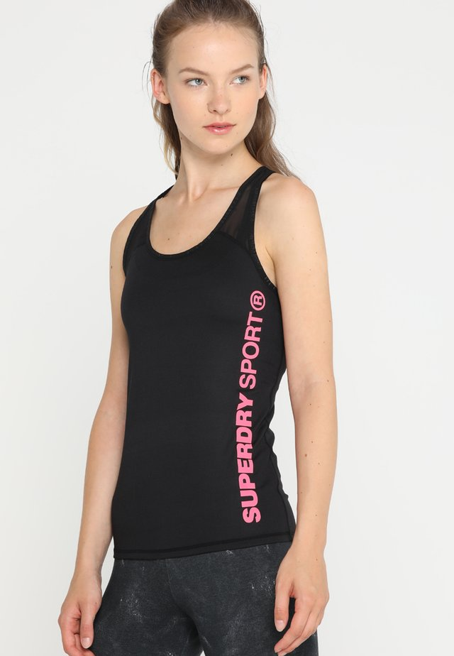 CORE FITTED MESH PANEL VEST - Top - black