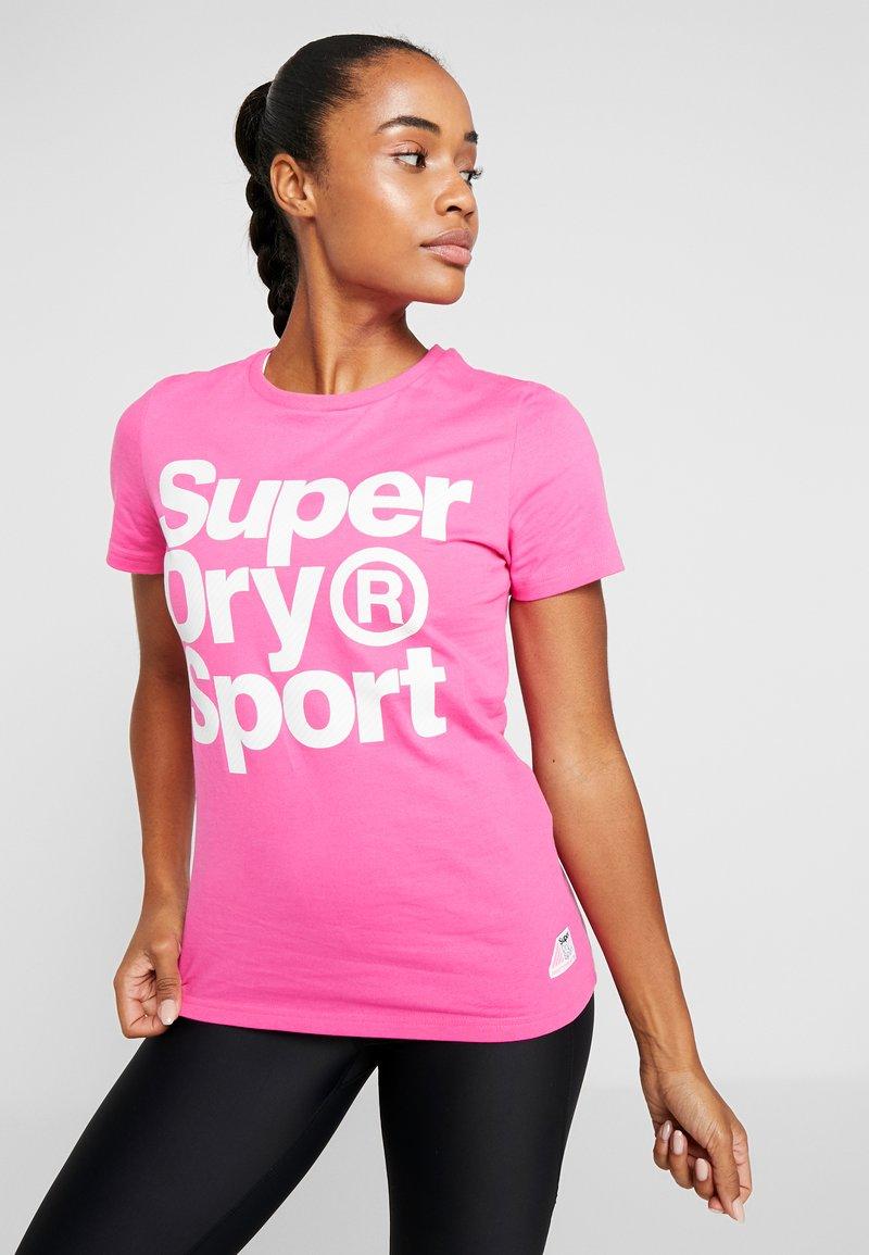 Superdry - HAZARD SPORT TEE - Print T-shirt - fluro pink
