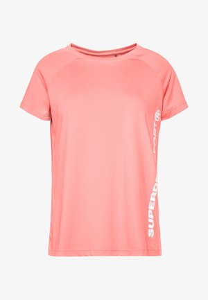TRAINING ESSENTIAL TEE - Print T-shirt - phosphorescent coral
