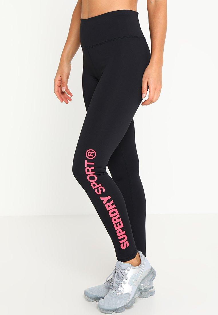Superdry - CORE ESSENTIAL LEGGINGS - Leggings - black