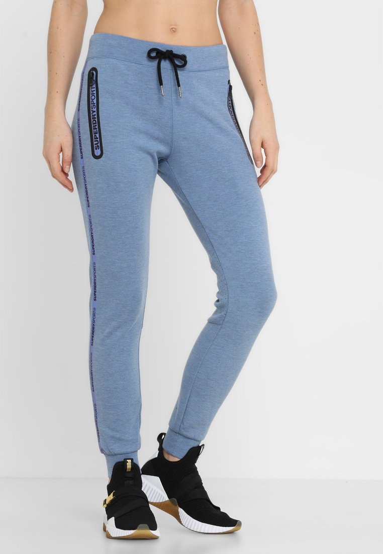Superdry - CORE GYM TECH PANEL  - Tracksuit bottoms - infinity blue marl