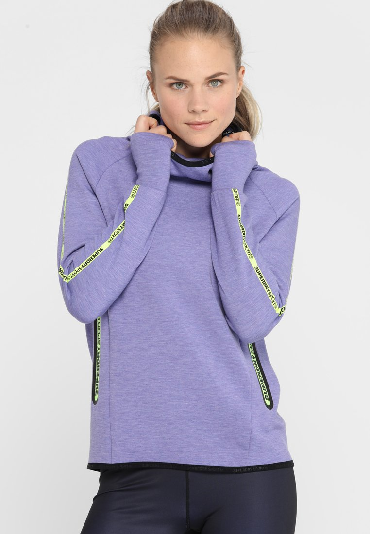 Superdry - CORE GYM TECH TAPED FUNNEL - Kapuzenpullover - purple vibe marl