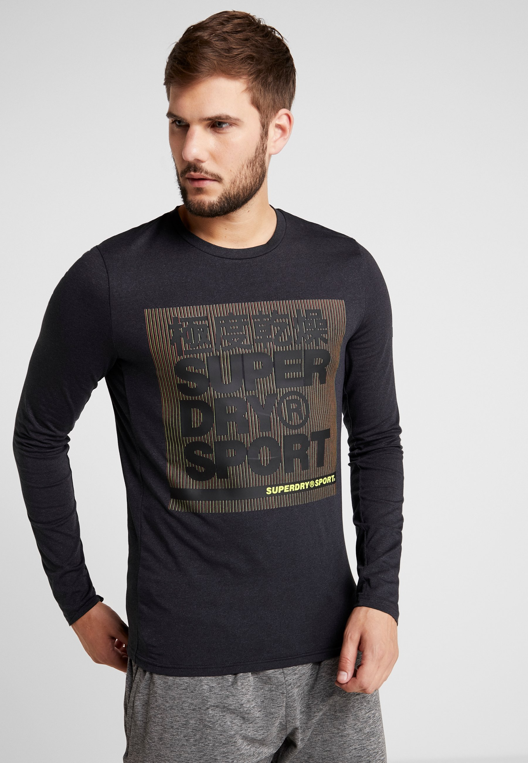 shirt Graphic À Black Superdry Manches TeeT Core Twist Longues D92WHYEI