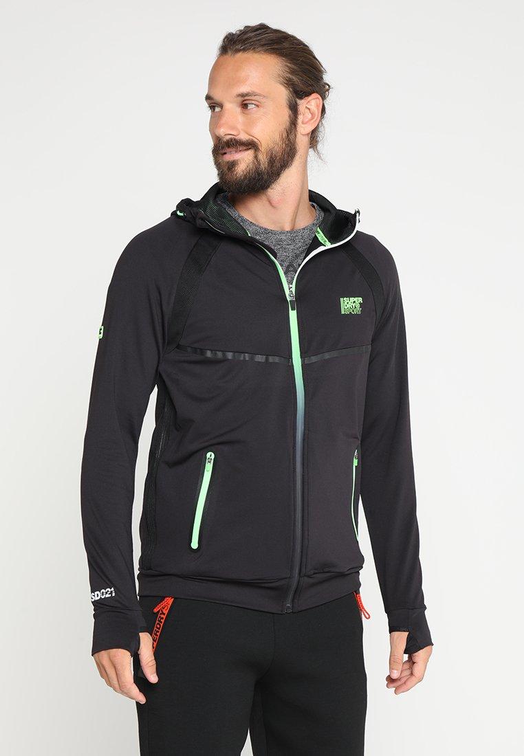 Superdry Veste de survêtement black/fluro green