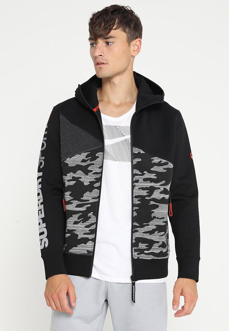 Superdry - GYM TECH SPLICED ZIPHOOD - Zip-up hoodie - black/camo