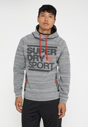 GYM TECH STRETCH GRAPHIC OVERHEAD - Jersey con capucha - gravel marl