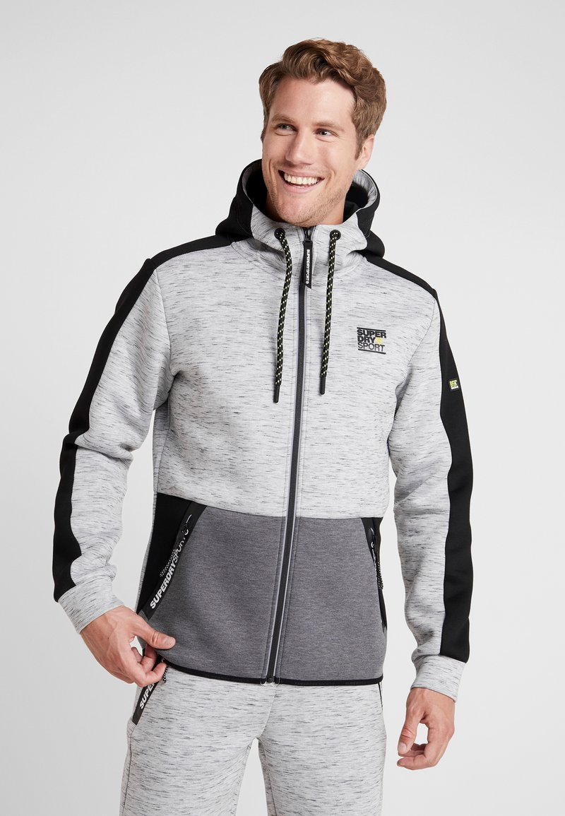 Superdry - GYMTECH COLOURBLOCK ZIPHOOD - Zip-up hoodie - light grey marl/black