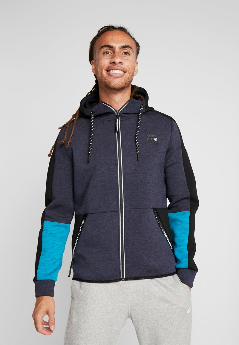 Superdry - GYMTECH COLOURBLOCK ZIPHOOD - Zip-up hoodie - darkest navy/aqua marl