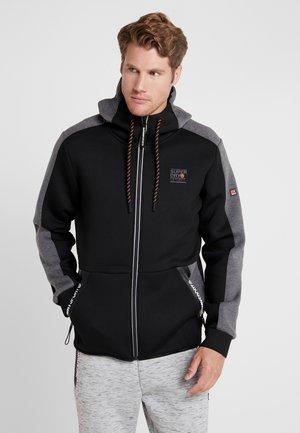 GYMTECH COLOURBLOCK ZIPHOOD - veste en sweat zippée - black/asphalt marl
