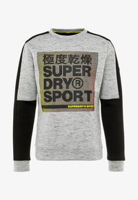 Superdry - GYMTECH COLOURBLOCK CREW - Sweatshirt - light grey marl/black - 3
