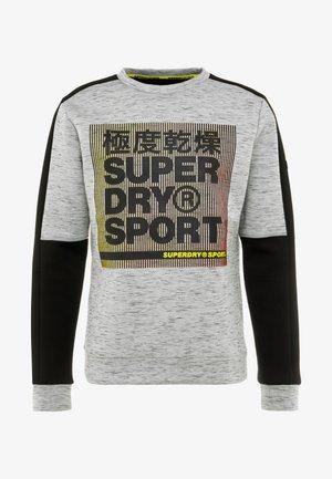 GYMTECH COLOURBLOCK CREW - Sweater - light grey marl/black
