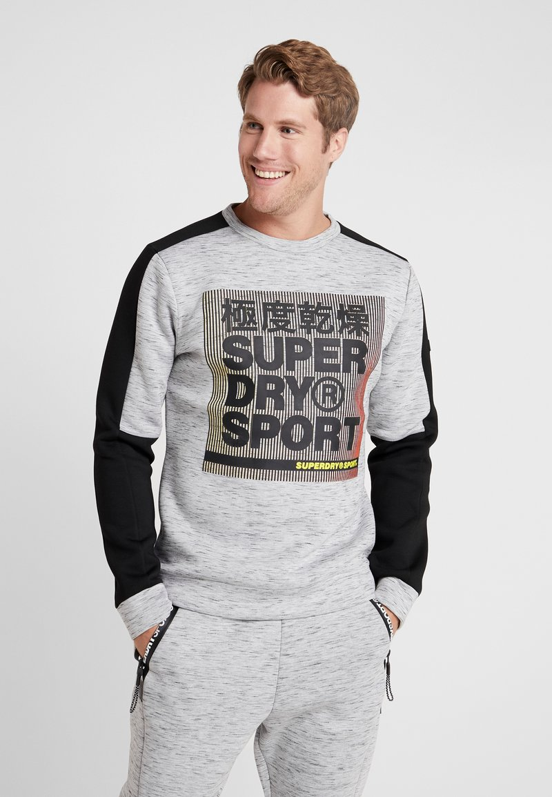 Superdry - GYMTECH COLOURBLOCK CREW - Sweatshirt - light grey marl/black