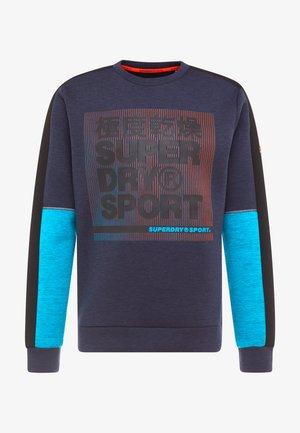 GYMTECH COLOURBLOCK CREW - Sweatshirt - darkest navy/aqua marl