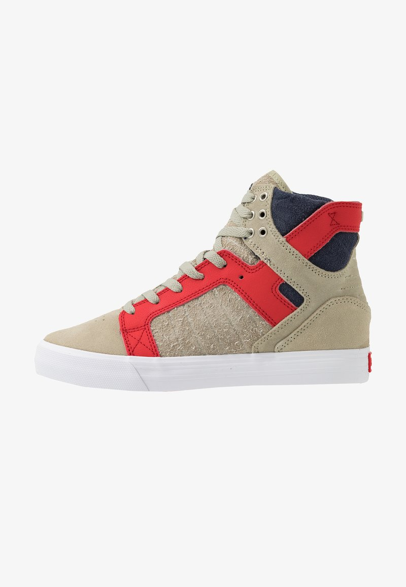 Supra - SKYTOP - Sneakers hoog - stone/risk red/white
