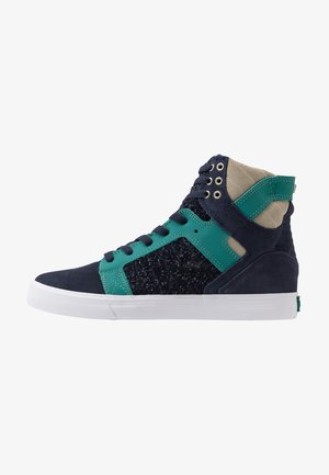 SKYTOP - High-top trainers - navy/teal white