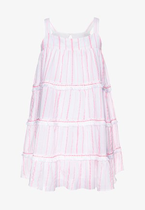 GIRLS STRIPE FRINGED TIER DRESS - Sukienka letnia - pink