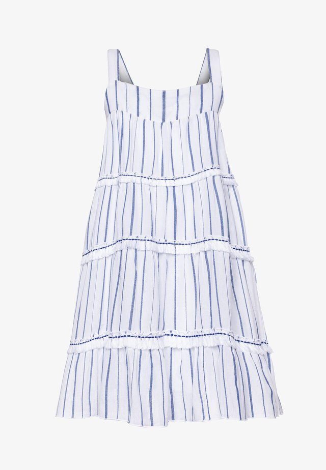 STRIPE FRINGED TIER DRESS - Sukienka letnia - blue